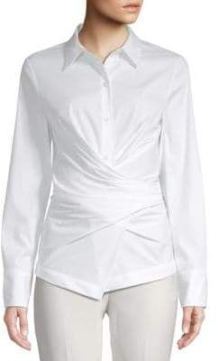 Donna Karan Long-Sleeve Wrap Button-Down Shirt