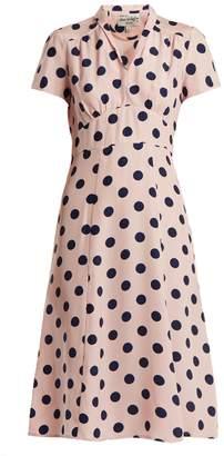 Morgan HVN polka-dot silk dress