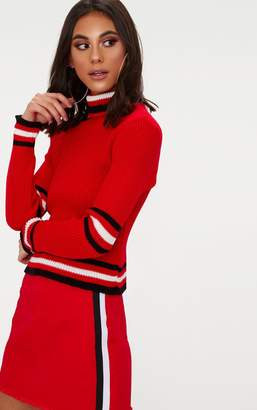 PrettyLittleThing Red Sports Stripe Roll Neck Jumper