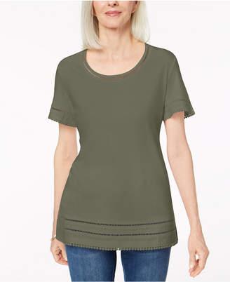 Karen Scott Ladder-Inset T-Shirt, Created for Macy's