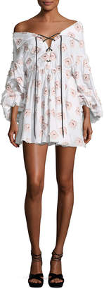 Caroline Constas Olympia Blouson-Sleeve Embroidered Cotton Dress