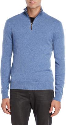 Qi Donegal Cashmere Quarter-Zip Sweater