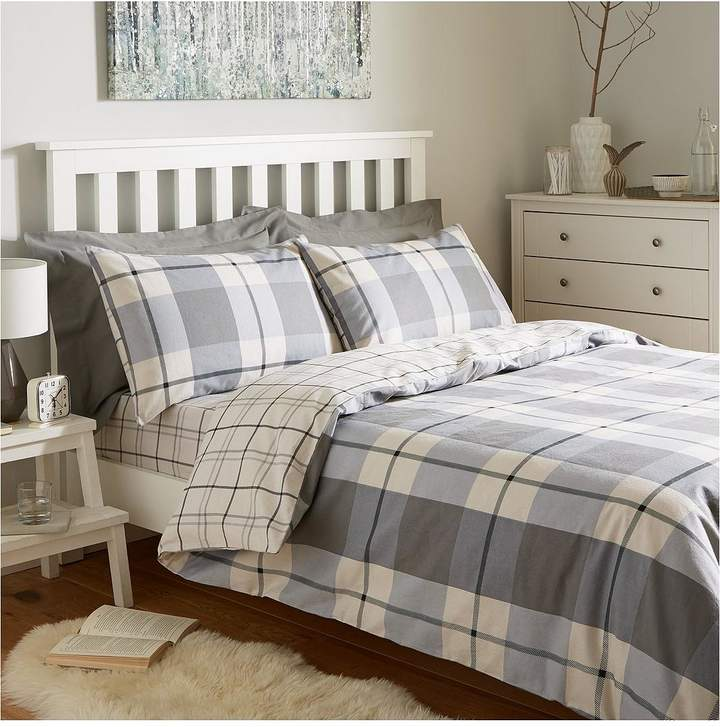 100% Brushed Cotton Check Duvet Cover Set