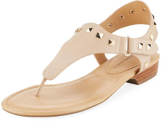 Neiman Marcus Yolene Studded Calf Sandals, Neutral