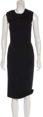Stella McCartney Pleat-Accented Midi Dress Black Pleat-Accented Midi Dress
