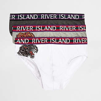 River Island Grey panther print briefs multipack
