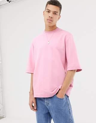Asos oversized short sleeved sweatshirt in pink