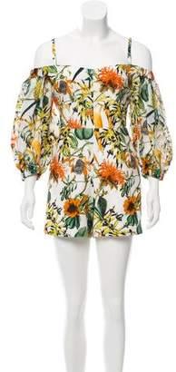 Nicholas Linen Floral Print Romper w/ Tags