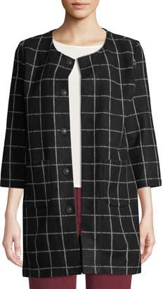 Neiman Marcus Plaid Three-Quarter Sleeve Jacket