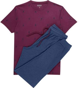 Burton Mens Burgundy and Navy Printed Pyjama Set
