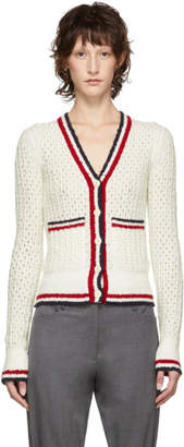 Thom Browne White Open Stitch Tipping Stripe V-Neck Cardigan