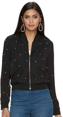 JLO by Jennifer Lopez Women's Studded Bomber Jacket