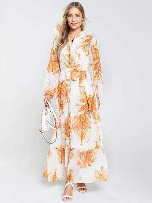 Wallis Paisley Shirt Maxi Dress - Ivory