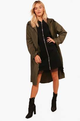 boohoo Longline Zip Through Hooded Mac