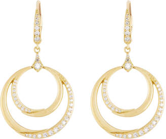 Penny Preville 18k Gold Diamond Double Crescent Circle Drop Earrings