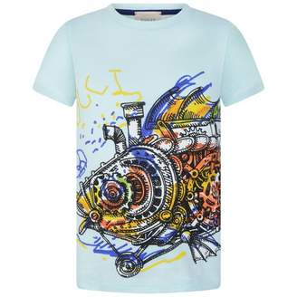 Gucci GUCCIBoys Blue Fish Print Top