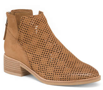 Dolce Vita Perforated Stacked Heel Leather Booties