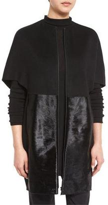 Lafayette 148 New York Makayla Cape-Sleeve Coat w/ Calf-Hair Panels, Black $1,248 thestylecure.com