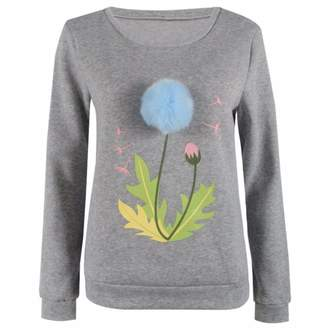 ec0434b56c52 Paixpays Women Winter Printed Flower Round Neck Sweater Long Sleeve Pullover  Jumper Knit