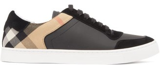 Burberry Reeth House Check Leather And Suede Trainers - Mens - Black
