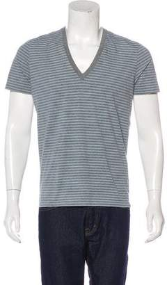 Burberry Striped V-Neck T-Shirt
