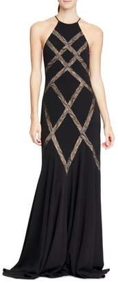 Halston Halson Heritage Lace Inset Gown