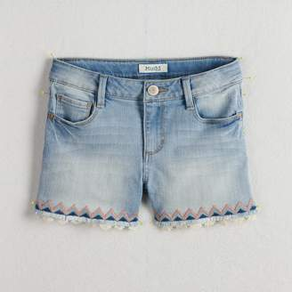 Mudd Girls 7-16 & Plus Size Embroidered Trim & Frayed Hem Denim Shorts