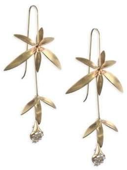 Annette Ferdinandsen Pearl& 14K Wildflower Drop Earrings