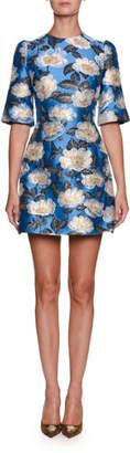 Dolce & Gabbana High-Neck Elbow-Sleeve Jacquard Cocktail Dress