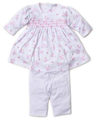 Kissy Kissy Sparkling Swans Printed Dress w/ Polka-Dot Leggings, Size 3-24 Months