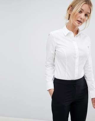 Asos DESIGN fuller bust long sleeve shirt body in stretch cotton