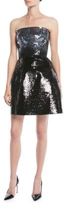 Monique Lhuillier Strapless Fit-and-Flare Ombre Sequin Cocktail Mini Dress