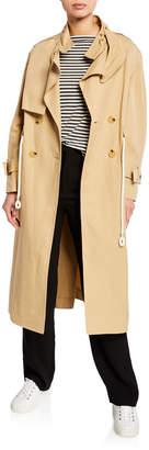 Vince Long Linen\/Cotton Drawstring Trench Coat