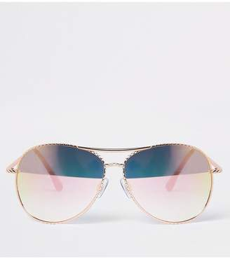 f7a6fdebd4 River Island Mirror Lense Aviator Sunglasses - Rose Gold
