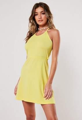 Missguided Lemon Halterneck Eyelet Back Skater Dress