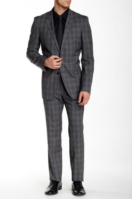 Hugo BossHUGO BOSS Grey Plaid Two Button Notch Lapel Wool Suit