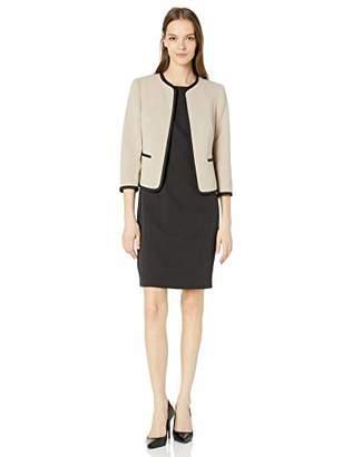 Le Suit LeSuit Women's Jacquard Piped Open Front Jacket and Dress