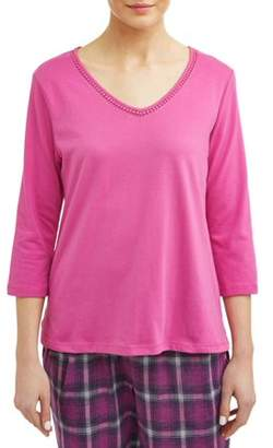 Karen Neuburger 3/4 Sleeve Pullover Top Pajama Pj with Night Sweat Moisture Wicking Technology