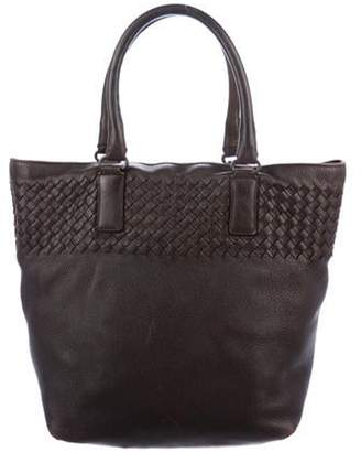 Bottega Veneta Intrecciato-Trimmed Leather Tote Brown Intrecciato-Trimmed Leather Tote