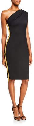 HANEY Mila One-Shoulder Sheath Dress w/ Beaded Side Trim