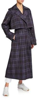 Vince Plaid Trench Coat