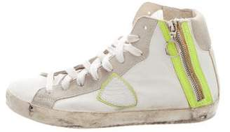 Philippe Model Distressed High-Top Sneakers