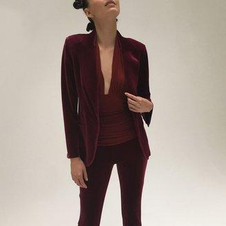 Norma Kamali Women's Single Breasted Jacket Velvet - Burgundy