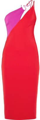 Cushnie Asymmetric Two-tone Stretch-crepe Midi Dress - Red