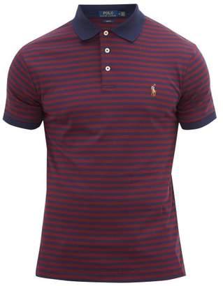 Polo Ralph Lauren Striped Logo Embroidered Cotton Polo Shirt - Mens - Burgundy