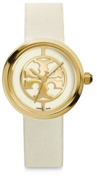 Tory Burch Tory Burch Reva Goldtone Stainless Steel & Leather Strap Watch/White