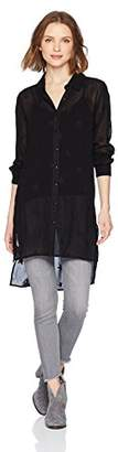 Michael Stars Women's Star Embroidered Long Sleeve Button up Shirt with Side Slits