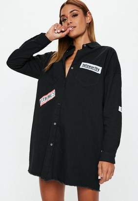 Missguided Black Badge Oversized Shirt Dress