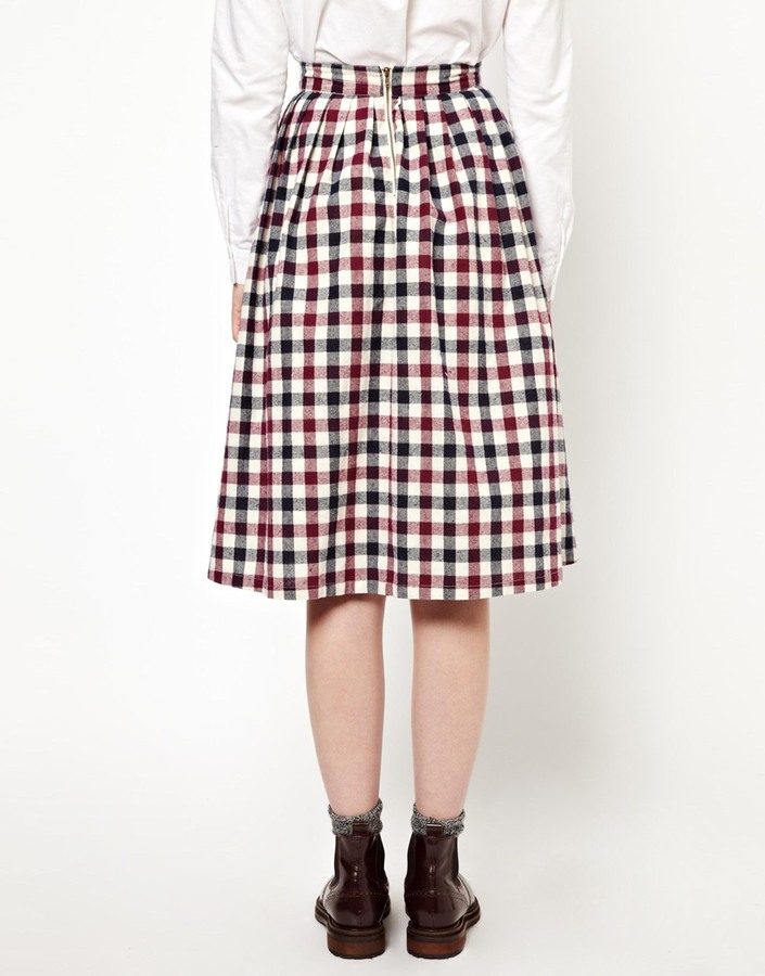 The WhitePepper Check Midi Skirt