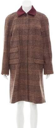 Sonia Rykiel Plaid Wool-Alpaca Coat w/ Tags